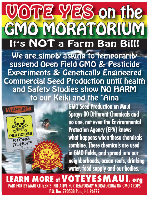 Vote YES on Maui Citizen's GMO Moratorium