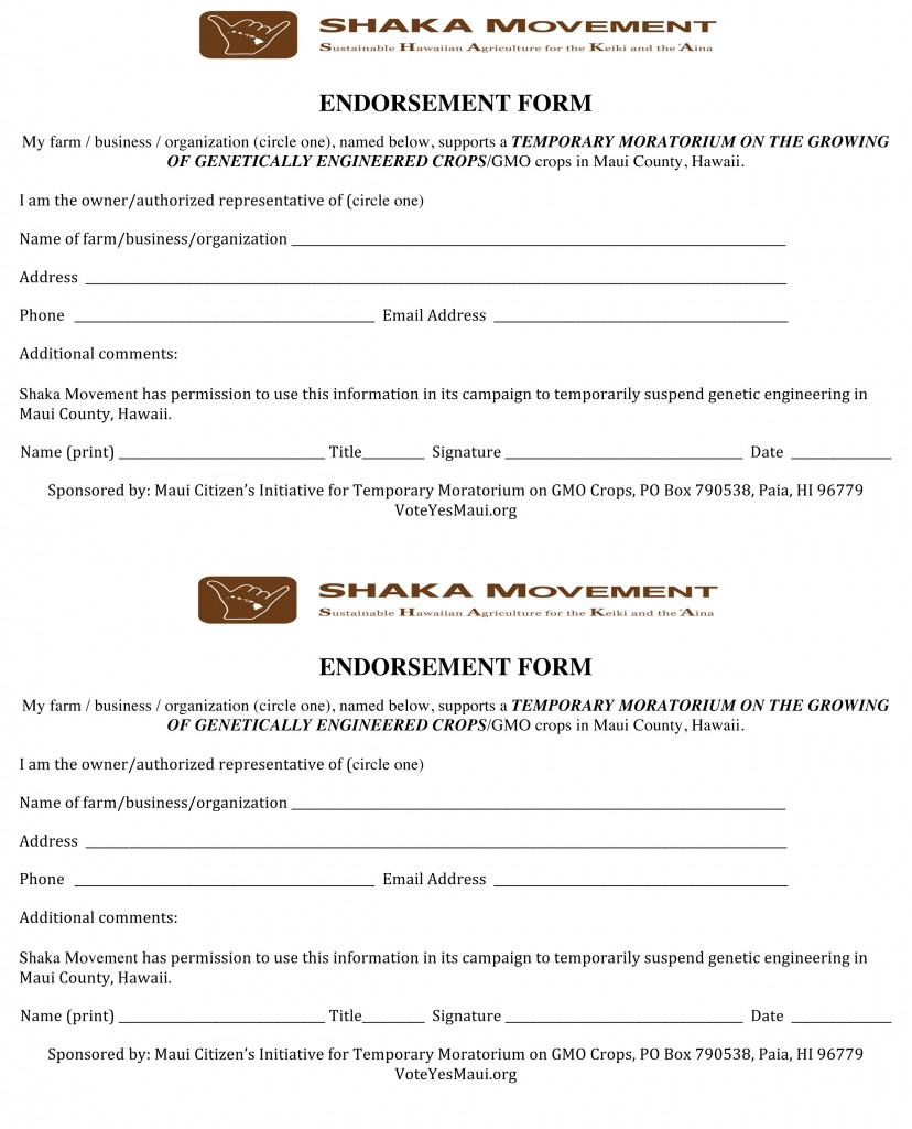 ENDORSEMENT-FORM